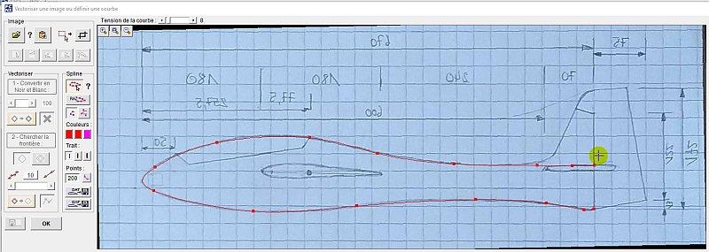 Utilisation de la fenêtre Vectoriser une image ou Définir une courbe du logiciel FilChaudNX de découpe par fil chaud CNC.